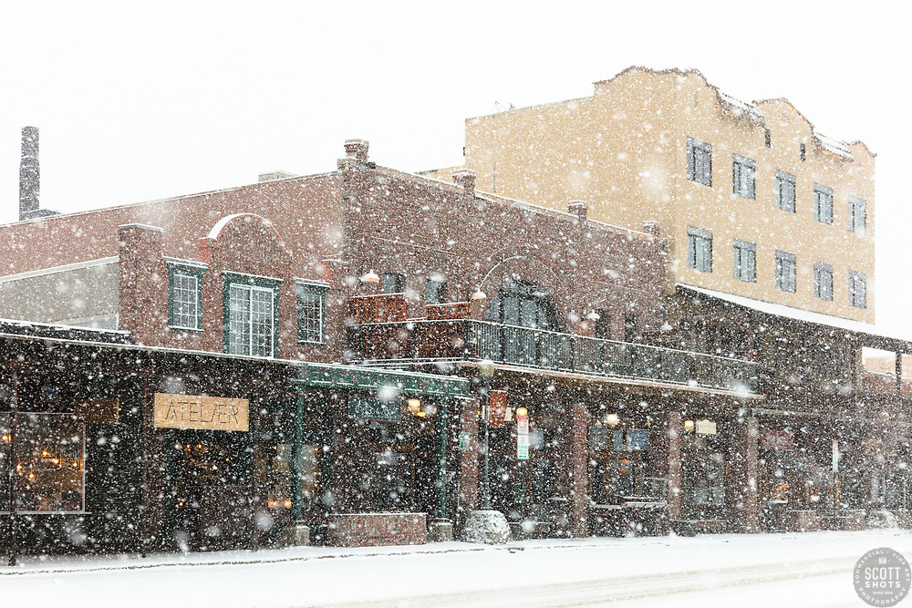"""Downtown Truckee 49"" - Photograph of historic Downtown Truckee, California shot during a snow storm."