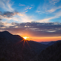 Beautiful sunset from Morton Overlook, Great Smoky Mountain National Park