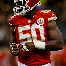 Aug 9, 2013; New Orleans, LA, USA; Kansas City Chiefs outside linebacker Justin Houston (50) against the New Orleans Saints during a preseason game at the Mercedes-Benz Superdome. The Saints defeated the Chiefs 17-13. Mandatory Credit: Derick E. Hingle-USA TODAY Sports