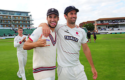 Lewis Gregory and Tim Groenewald celebrate victory.  - Mandatory by-line: Alex Davidson/JMP - 22/09/2016 - CRICKET - Cooper Associates County Ground - Taunton, United Kingdom - Somerset v Nottinghamshire - Specsavers County Championship Division One