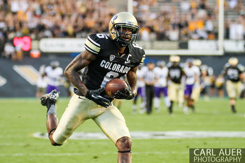 September 7th, 2013 - Colorado Buffaloes junior wide receiver Paul Richardson (6) runs in a touchdown in the first quarter of the NCAA football game between the University of Central Arkansas Bears and the University of Colorado Buffaloes at Folsom Field in Boulder, CO
