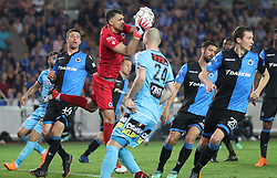 April 19, 2018 - Brugge, BELGIUM - Club's goalkeeper Vladimir Gabulov fights for the ball during the Jupiler Pro League match between Club Brugge and Sporting Charleroi, in Brugge, Thursday 19 April 2018, on day four of the Play-Off 1 of the Belgian soccer championship. BELGA PHOTO VIRGINIE LEFOUR (Credit Image: © Virginie Lefour/Belga via ZUMA Press)