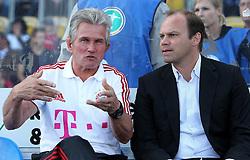 14.07.2011, Ernst-Abbe-Sportfeld, Jena, GER, Benefizspiel, Carl Zeis Jena vs FC Bayern im Bild ..Trainer Jupp Heynckes und Mananger Christian Nerlinger (beide Bayern München) im Gespräch ..  //during the freindlc match between Carl Zeis Jena - FC Bayern 2011/07/14   EXPA Pictures © 2011, PhotoCredit: EXPA/ nph/  Hessland       ****** out of GER / CRO  / BEL ******