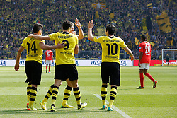"19.04.2014, Signal Iduna Park, Dortmund, GER, 1. FBL, Borussia Dortmund vs 1. FSV Mainz 05, 31. Runde, im Bild vl: Milos Jojic (Borussia Dortmund #14), Torschuetze Robert Lewandowski (Borussia Dortmund #9), Lukasz Piszczek (Borussia Dortmund #26) und Henrikh ""Micki"" Mkhihtaryan (Borussia Dortmund #10) beim Torjubel nach dem Treffer zum 2:1 // during the German Bundesliga 31th round match between Borussia Dortmund and 1. FSV Mainz 05 at the Signal Iduna Park in Dortmund, Germany on 2014/04/19. EXPA Pictures © 2014, PhotoCredit: EXPA/ Eibner-Pressefoto/ Schueler<br /> <br /> *****ATTENTION - OUT of GER*****"