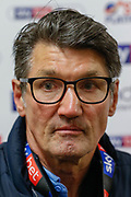 CHAMPIONS Luton Town manager Mick Harford in the post-match press conference after the EFL Sky Bet League 1 match between Luton Town and Oxford United at Kenilworth Road, Luton, England on 4 May 2019.