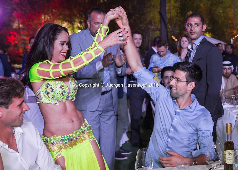Dubai ATP Players Party, Novak Djokovic (SRB) und Bauchtaenzerin,<br /> <br /> <br /> Tennis - Dubai Duty Free Tennis Championships - ATP -   - Dubai -  - United Arab Emirates  - 23 February 2016. <br /> &copy; Juergen Hasenkopf