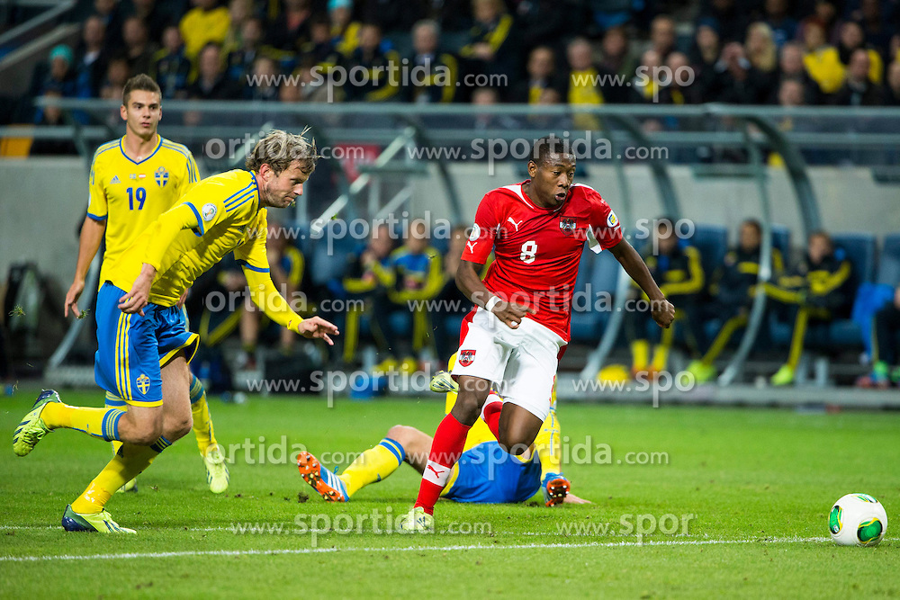 11.10.2013, Friends Arena, Stockholm, SWE, FIFA WM Qualifikation, Schweden vs Oesterreich, Gruppe C, im Bild David Alaba mit einer Torchance // during the FIFA World Cup Qualifier Group C Match between Sweden and Austria at the Friends Arena, Stockholm, Sweden on 2013/10/11. EXPA Pictures &copy; 2013, PhotoCredit: EXPA/ PicAgency Skycam/ Michael Campanella<br /> <br /> ***** ATTENTION - OUT OF SWE *****