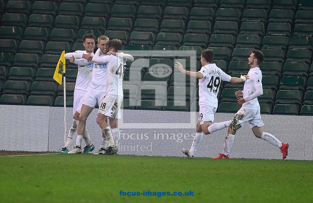 Oliver McBurnie of Swansea City celebrates his goal with team mates against Norwich City U23 during the Checkatrade Trophy match at Carrow Road, Norwich<br /> Picture by Matthew Usher/Focus Images Ltd +44 7902 242054<br /> 06/12/2016