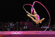 11.08.2012. London, England.  Rythmic Gymnastics Final  Individual All Round Daria Dmitrieva RUS  KANAEVA Rus took gold, DMITRIEVA Rus took silver and CHARKASHYNA BLR took bronze.  2012 London Olympic Games.