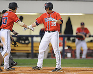 Mississippi's Matt Smith hits a home run vs. Tennessee college baseball at Oxford-University Stadium on Friday, April 2, 2010 in Oxford, Miss. Ole Miss won 7-3.