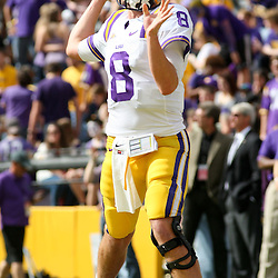 November 25, 2011; Baton Rouge, LA, USA; LSU Tigers quarterback Zach Mettenberger (8) prior to kickoff of a game against the Arkansas Razorbacks at Tiger Stadium.  Mandatory Credit: Derick E. Hingle-US PRESSWIRE