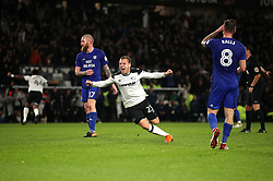 Derby County's Matej Vydra (centre) celebrates scoring his side's second goal of the game during the Sky Bet Championship match at Pride Park, Derby.