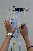 MCDERMITT, NV - AUG 16:  An IV bag is marked prior to surgery during a clinic sponsored by the Humane Society of the United States August 16, 2009 in McDermitt Nevada.  (Photograph by David Paul Morris)