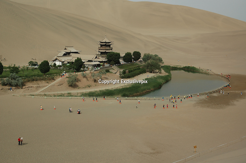 JIAYUGUAN, CHINA - (CHINA OUT) <br /> <br /> &quot;The Silk Road&quot; Adopted Into World Heritage List<br /> <br /> A general view of the Crescent Moon Spring at &quot;The Silk Road&quot; , Gansu province of China. &quot;The Silk Road&quot; was adopted into the World Heritage List on June 22 during the 38th session of the World Heritage Committee. 22 of the 33 heritage points of &quot;The Silk Road&quot; are in China.<br /> &copy;Exclusivepix