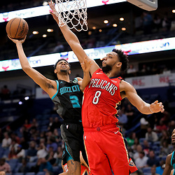 Apr 3, 2019; New Orleans, LA, USA;  Charlotte Hornets guard Jeremy Lamb (3) shoots over New Orleans Pelicans center Jahlil Okafor (8) during the first quarter at the Smoothie King Center. Mandatory Credit: Derick E. Hingle-USA TODAY Sports