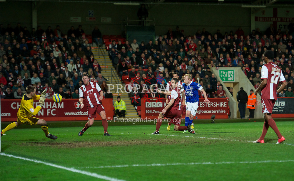 CHELTENHAM, ENGLAND - Monday, January 7, 2013: Everton's Steven Naismith sees his shot saved by Cheltenham Town's goalkeeper Scott Brown during the FA Cup 3rd Round match at Whaddon Road. (Pic by David Rawcliffe/Propaganda)