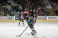 KELOWNA, CANADA - SEPTEMBER 24: Cal Foote #25 of the Kelowna Rockets skates against the Kamloops Blazers on September 24, 2016 at Prospera Place in Kelowna, British Columbia, Canada.  (Photo by Marissa Baecker/Shoot the Breeze)  *** Local Caption *** Cal Foote;