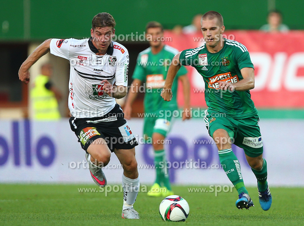 09.08.2015, Ernst Happel Stadion, Wien, AUT, 1. FBL, SK Rapid Wien vs RZ Pellets WAC, 3. Runde, im Bild Tadej Trdina (RZ Pellets WAC) und Srdjan Grahovac (SK Rapid Wien) // during a Austrian Football Bundesliga Match, 3rd Round, between SK Rapid Vienna and RZ Pellets WAC at the Ernst Happel Stadion, Wien, Austria on 2015/08/09. EXPA Pictures © 2015, PhotoCredit: EXPA/ Thomas Haumer