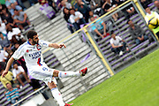 Lisandro Lopez takes a free kick.  Toulouse v Lyon (2-0), Ligue 1, Stade Municipal, Toulouse, France, 1st May 2011.