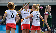 Den Bosch's Maartje Paumen and Margot van Geffen celebrate combing for another penalty corner goal  challenges with Surbiton's during their semi final of the EHCC 2017 at Den Bosch HC, The Netherlands, 3rd June 2017