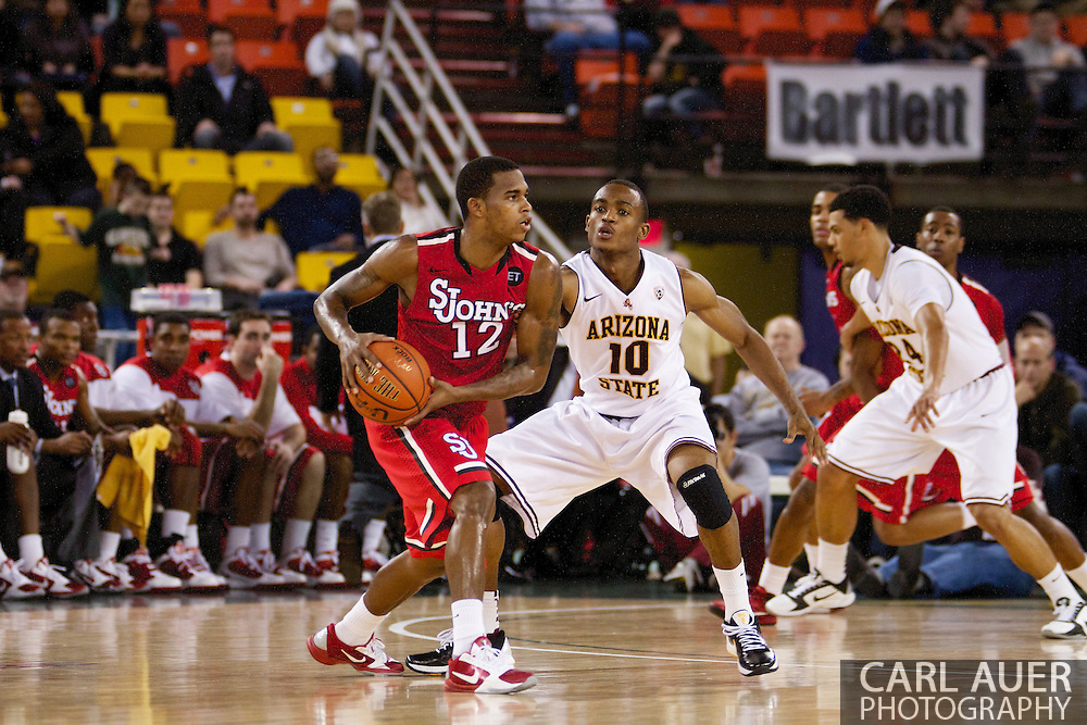 November 27th, 2010:  Anchorage, Alaska - Arizona State's Jamelle McMillan (10) matches up on defense against St. John's Dwight Hardy (12) in the Sun Devil's 58-67 loss to St. John's in the championship game of the Great Alaska Shootout.  McMillan is the son of former NBA Seattle Super Sonics player and current Portland Trailblazer's coach Nate McMillan.