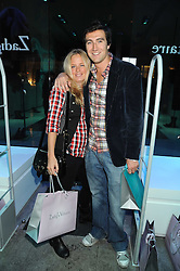 ROWEN STEWART and ASTRID HARBORD at a party hosted by Kate Sumner at Zadig & Voltaire to celebrate the brand's arrival in London at 182 Westbourne Grove, London W11 on 14th October 2008.