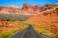 Beautiful fall drive into Fruita area of Capitol Reef, Utah. Just makes you want to go on a road trip!
