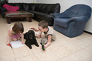 2 children boy aged 5 girl aged 3 and their black miniature poodle playing on the floor in their house Model Release Avalable