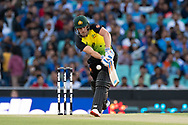 SYDNEY - NOVEMBER 25: Australian player Aaron Finch (c) hits the ball at the International Gillette T20 cricket match between Australia and India at The Sydney Cricket Ground in NSW on November 25, 2018. (Photo by Speed Media/Icon Sportswire)