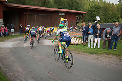 Tayler Wiles (USA) of Orica-AIS Cycling Team rides near the back of the pack after the first gravel section of the 141 km road race of the UCI Women's World Tour's 2016 Crescent Vårgårda women's road cycling race on August 21, 2016 in Vårgårda, Sweden. (Photo by Balint Hamvas/Velofocus)
