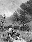 Mule wagon passing through the Cumberland Gap, Kentucky. Wood engraving, 'Harper's Magazine', 1886 .