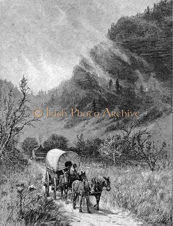 Mule wagon passing through the Cumberland Gap, Kentucky. Wood engraving, 'Harper's Magazine', 1886 .