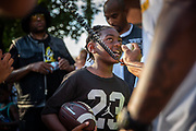 """Zion Smith, 8, tells the crowd """"Antwon Rose should not have been shot"""" as Smith takes part in the End The Violence Walk For Peace, Saturday, June 30, 2018, in Homewood. About 100 demonstrators took part in the walk which began at the Pittsburgh Gentlemen Clubhouse on Frankstown Ave. in Homewood. (Harrison Jones/Post-Gazette)"""
