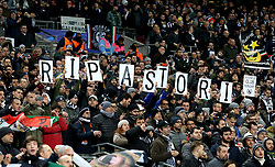 A general view as Juventus fans hold up 'RIP ASTORI' signs in the stands