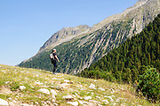 Female hiker in Zillertal alps, Tirol, Austria Model release available