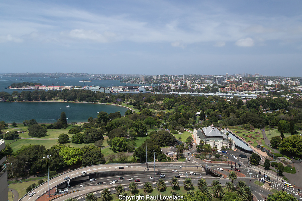 Open Sydney presented by Sydney Living Museuems. This event every year allows Sydneysiders to visit 40 of the city's most significant buildings and spaces across the CBD. Views of the Royal Botanic Garden and eastern Sydney from the rooftop of The AMP Building, Sydney.
