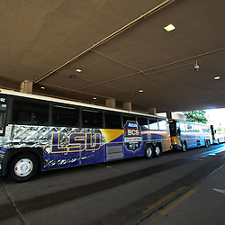 January 5, 2012; New Orleans, LA, USA; LSU Tigers team buses lined up outside for practice for the 2012 BCS National Championship game to be played on January 9, 2012 against the Alabama Crimson Tide at the Mercedes-Benz Superdome.  Mandatory Credit: Derick E. Hingle-US PRESSWIRE