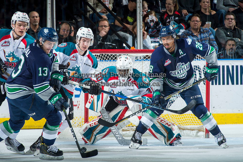 KELOWNA, CANADA - APRIL 25: Michael Herringer #30 of the Kelowna Rockets deflects a shot against the Seattle Thunderbirds  on April 25, 2017 at Prospera Place in Kelowna, British Columbia, Canada.  (Photo by Marissa Baecker/Shoot the Breeze)  *** Local Caption ***