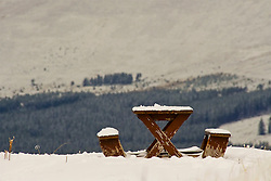 Empty picnic bench at the Cairngorm Ski Area as Storm Doris hits the UK. 24  Feb 2017 (c) Brian Anderson | Edinburgh Elite media