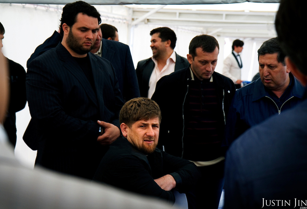 "Chechen President Ramzan Kadyrov attends a horse race in Moscow's Hippodrome..Kadyrov's horse, ""Royal Quiet"", came first in the 1600-metre race. .The horse, born in the U.S.A., is parented by father: Real Quiet, mother: Dinasoar, is trained by S. G. Kolesnikov and rode by master jockey S. V. Petin."