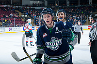 KELOWNA, CANADA - JANUARY 5: Noah Philp #16 of the Seattle Thunderbirds skates to the bench to celebrate a first period goal against the Kelowna Rockets on January 5, 2017 at Prospera Place in Kelowna, British Columbia, Canada.  (Photo by Marissa Baecker/Shoot the Breeze)  *** Local Caption ***