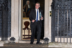 © Licensed to London News Pictures. 08/01/2018. London, UK. Secretary of State for Environment, Food and Rural Affairs Michael Gove leaves 10 Downing Street as Prime Minister Theresa May reshuffles the Cabinet. Photo credit: Rob Pinney/LNP