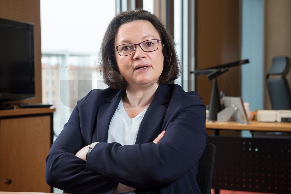 15 MAR 2018, BERLIN/GERMANY:<br /> Andrea Nahles, SPD Fraktionsvorsitzende, waehrend einem Interview, in ihrem Buero, Jakob-Kaiser-Haus, Deutscher Bundestag<br /> IMAGE: 20180315-01-017<br /> KEYWORDS: Büro