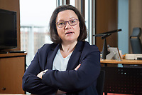 15 MAR 2018, BERLIN/GERMANY:<br /> Andrea Nahles, SPD Fraktionsvorsitzende, waehrend einem Interview, in ihrem Buero, Jakob-Kaiser-Haus, Deutscher Bundestag<br /> IMAGE: 20180315-01-017<br /> KEYWORDS: B&uuml;ro