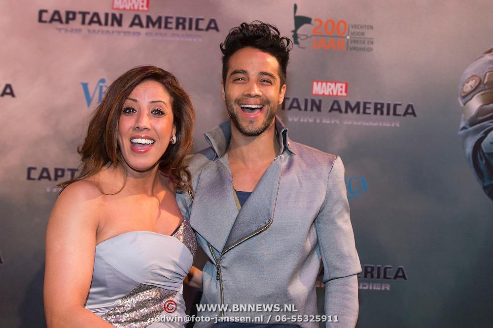 NLD/Amsterdam//20140326 - Filmpremiere Captain America The Winter Soldier, Curt Fontin en Aicha Marghadi