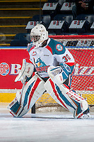 KELOWNA, CANADA - FEBRUARY 10: Michael Herringer #30 of the Kelowna Rockets warms up in net against the Vancouver Giants on February 10, 2017 at Prospera Place in Kelowna, British Columbia, Canada.  (Photo by Marissa Baecker/Shoot the Breeze)  *** Local Caption ***