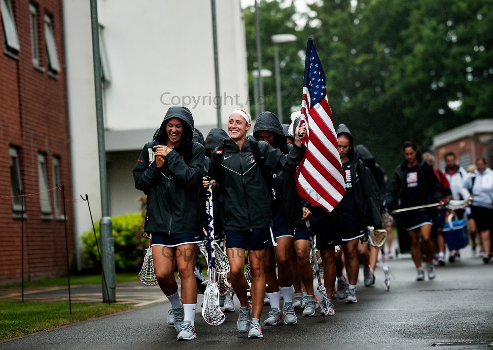 USA leave the dorms on their way to the game vs Israel at the 2017 FIL Rathbones Women's Lacrosse World Cup, at Surrey Sports Park, Guildford, Surrey, UK, 19th July 2017.