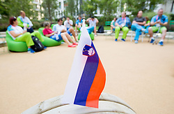 Slovenian flag in Paralympic village during Day 9 of the Summer Paralympic Games London 2012 on September 8, 2012, in Paralympic village, London, Great Britain. (Photo by Vid Ponikvar / Sportida.com)