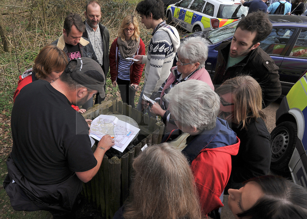 ©London News pictures. 22/03/11. Police show volunteers the search area.  Locals and friends of Sian O'Callaghan help Police in the search in Savernake Wood, Wiltshire, today. Detectives continue investigating the disappearance of office administrator Sian O'Callaghan. The 22-year-old disappeared after leaving Suju nightclub in Swindon at about 2.50am on Saturday to walk the half-mile home to the flat she shared with her boyfriend Kevin Reape. Picture Credit should read Stephen Simpson/LNP