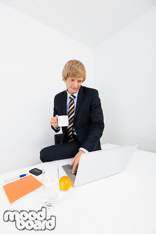 Mid adult businessman with coffee cup using laptop at desk in office